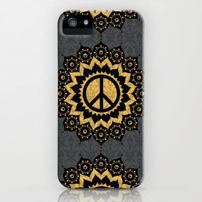 Peace Mandala Pattern Print Black Edition iPhone Case by Jon Hernandez - $35.00