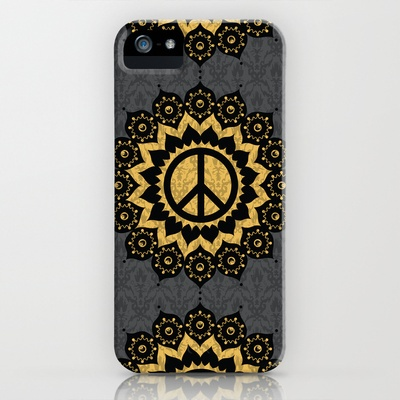Peace Mandala Pattern Print Black Edition iPhone Case by Jon Hernandez - $35.00