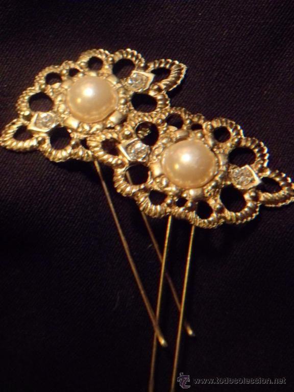 Pareja de horquillas labradas de moño o tocado aderezo indumentaria regional años 30-40 (Antigüedades - Moda - Complementos - Bisutería - Ot...