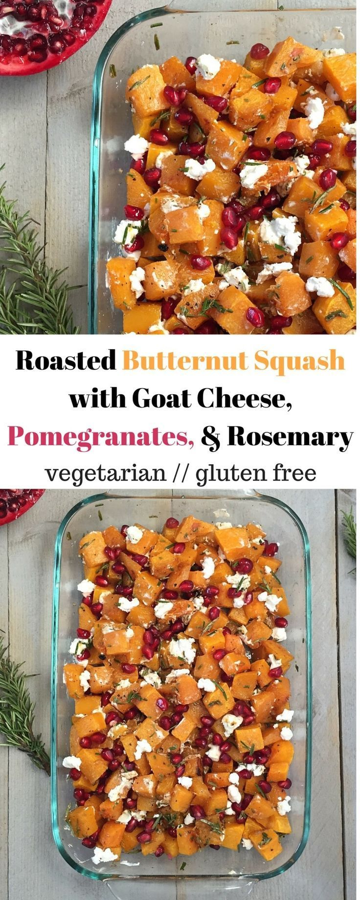 Roasted butternut squash combined with goat cheese, pomegranates, and rosemary make this simple, healthy, flavor packed dish a star at your holiday gatherings - Eat the Gains