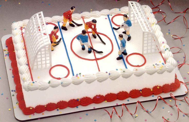 Cake Idea for Big Boy who wants a hockey theme birthday party this summer.