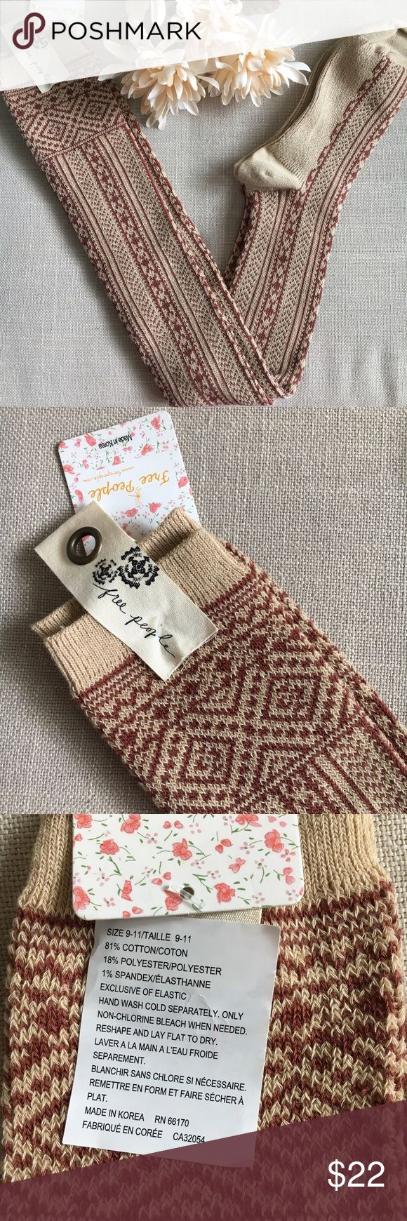 Free People Tea/Spice Over The Knee Socks These Free People Trailing Jade Tea/Spice Over The Knee Socks are new with tags, never worn. These are amazing socks, very warm and cute and cozy! Perfect socks to wear with boots! Size is 9-11. Free People Accessories Hosiery & Socks