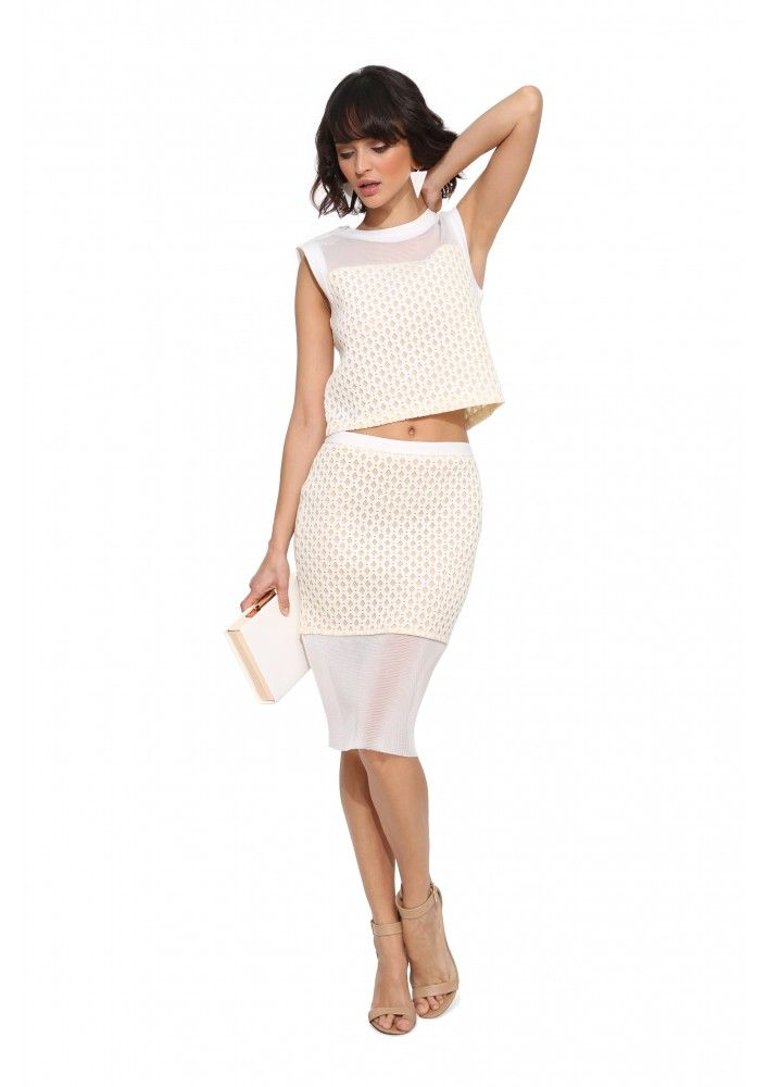 English Factory Knee Length Skirt in White   Necessary Clothing