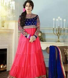 Buy Juhi Chawala In Peach Floor Length Anarkali Suit semi-stitched-salwar-suit online