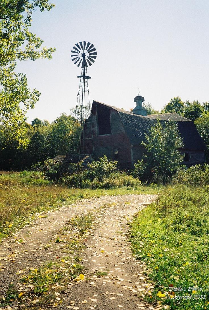 Sagging Barn and Windmill.