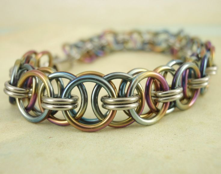 Stainless Steel and Niobium Chainmaille Bracelet Kit. $30.00, via Etsy.