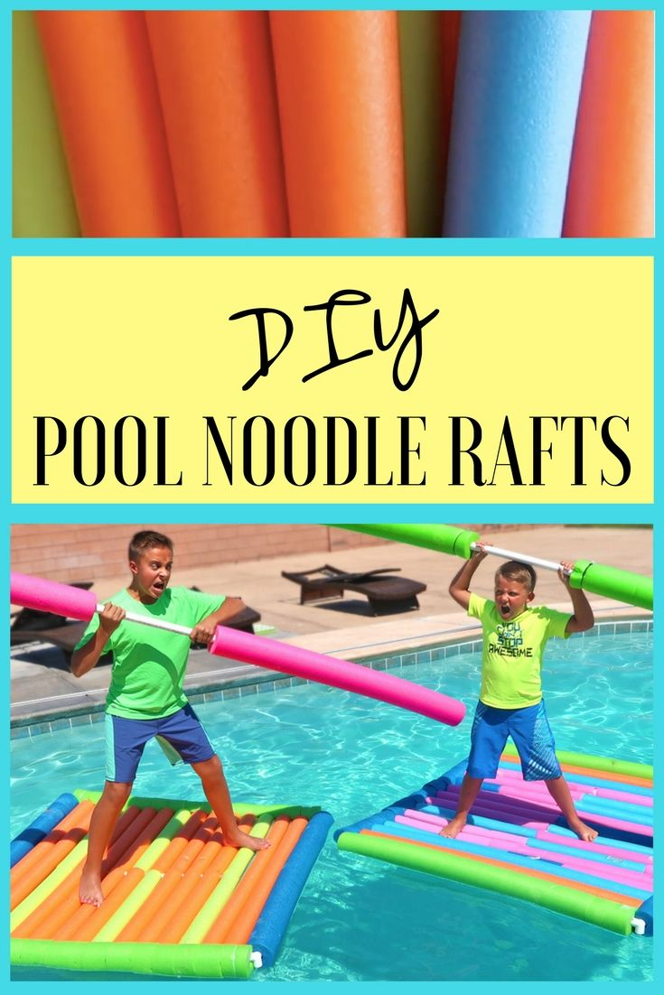 DIY Pool Noodle Raft Racing Experiment Backyard Swimming Pool Party Challenge! Perfect for birthday parties or other events!