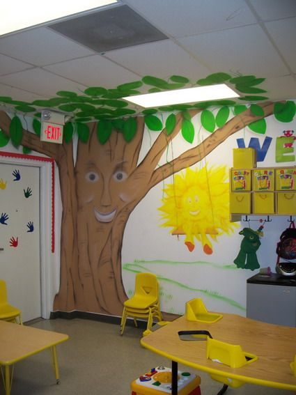Preschool Room Design: Cute-Funny-Trees-Nursery-Wall-Decals-Stickers-for