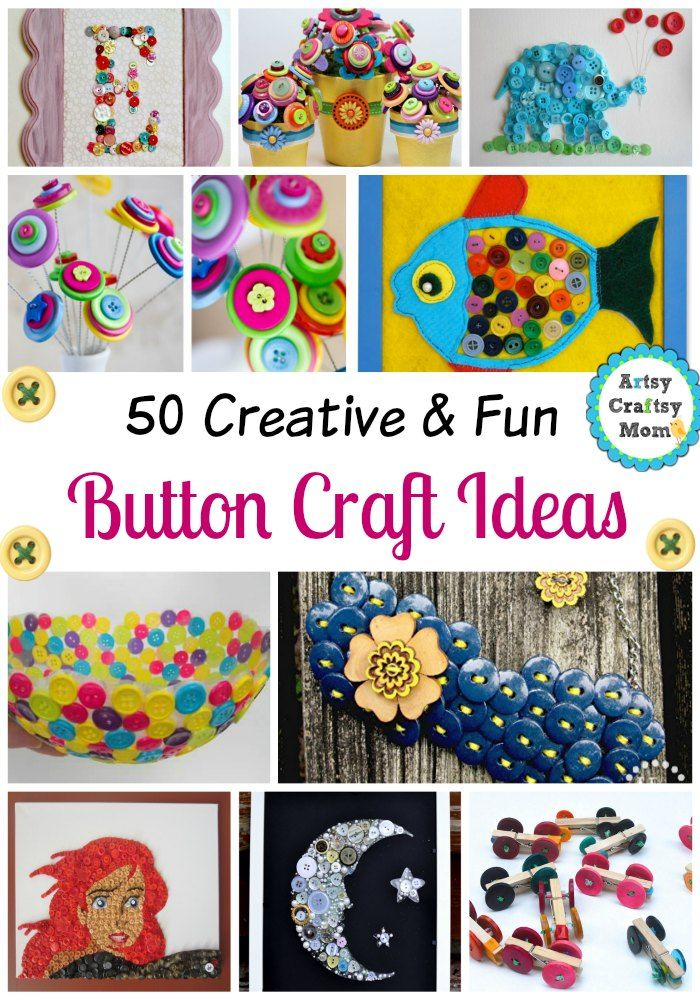 50+ Creative and Fun Button Craft Ideas -  Button Flower Crafts -  Button Art Ideas Button Animal Crafts  and lots more