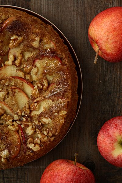 Apple Walnut Upside Down Spice Cake with a gooey delicious topping of caramelized apples and walnuts. Get the recipe at www.chocolatemoosey.com