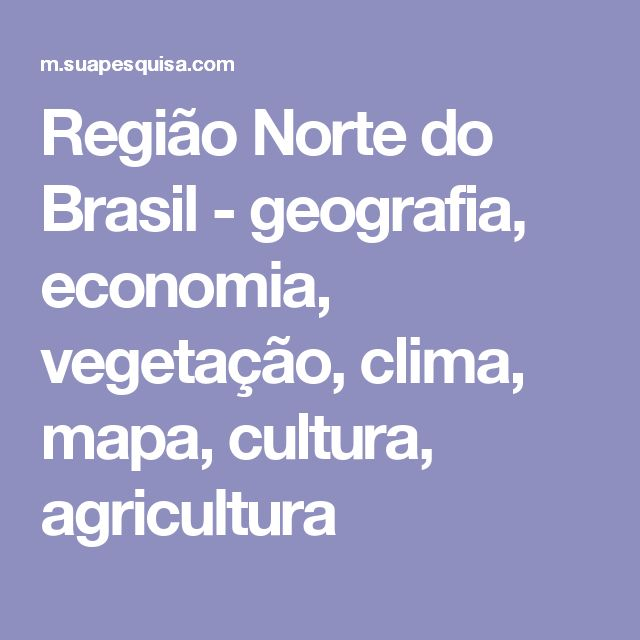 Região Norte do Brasil - geografia, economia, vegetação, clima, mapa, cultura, agricultura