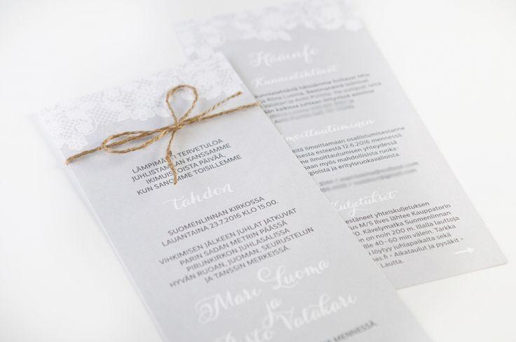 MakeaDesign Hääkutsut / custom made wedding invitations from makeadesign.fi / lace wedding rustic