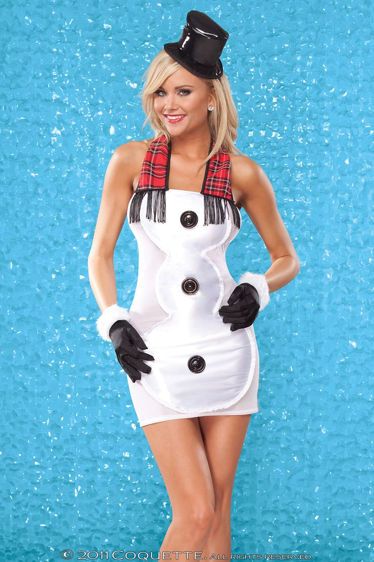 "Satin and mesh ""Snow Man"" halter dress with decorative ruffled trim; 3 large buttons and faux plaid scarf with fringe."