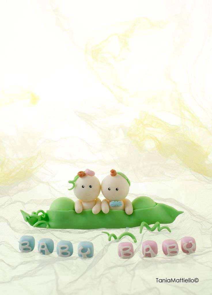 Nome Personalizzabile- Gemelli nel Baccello Cake Topper Fatto a Mano in Pasta di Mais-Battesimo-Compleanno-Nascita-Baby Shower-Torta di MaisEPoiMais su Etsy