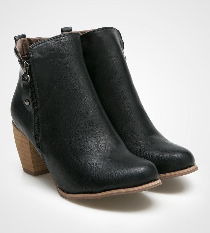 Nabila Boots by Marc & Stuart. A cool black ankle boots with woods heels and side zipper for closure. Pair this gorgeous boots with your black skinny jeans and plain t-shirt for a casual style or pair it with your leather jacket. http://www.zocko.com/z/JG98k