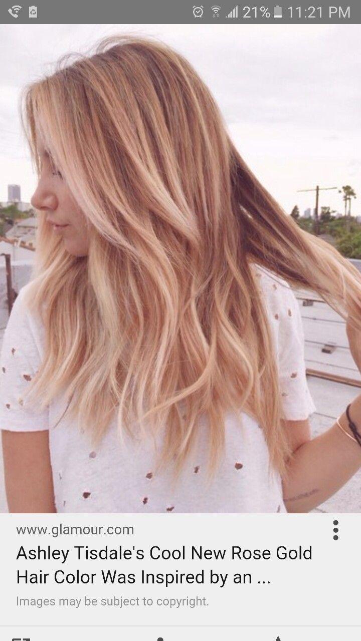 Ashley Tisdale rose gold hair