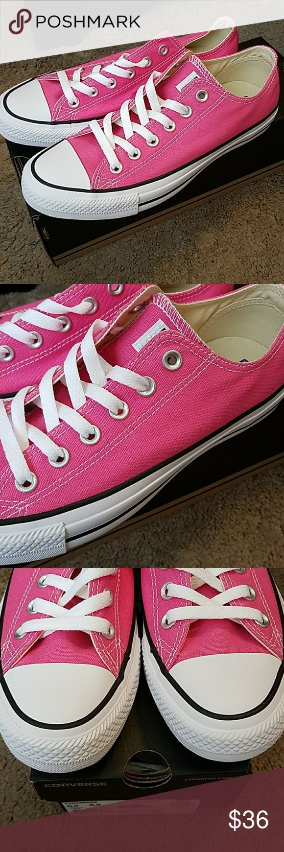 Converse Lo Tops Bubble Gum Pink Girls sz 7 🎉HP🎉 Adorable Bubble Gum Pink Converse Lo Tops Brand New In Box. Girls size 7 marked as Women's size 8.5 on box Converse Shoes