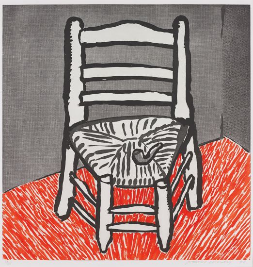 David Hockney - Van Gogh Chair (White), 1998. Etching and aquatint in red and black, on Somerset Satin paper, with full margins.