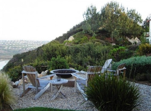 What a great spot to spend an eveningBackyards Fire Pit, Adirondack Chairs, San Diego, Patios Design, Front Yards, Fire Pit Design, Firepit, Landscapes Design, Peas Gravel