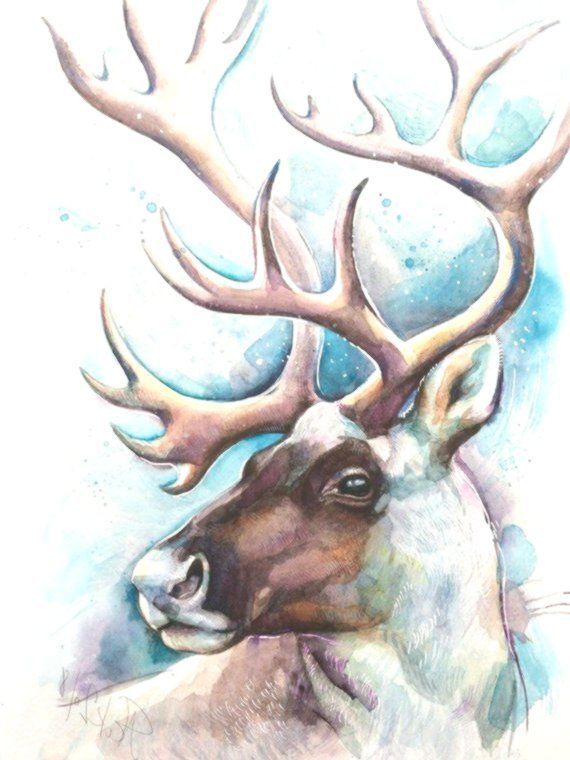 Original Rentier Aquarell Hirsch Bild Karibu Illustration