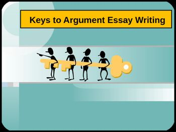 Keys to Argument Essay Writing is a powerful PowerPoint that details what an argument essay is, and provides explicit instruction on how to write the opening paragraph, body paragraphs, and the conclusion.  Additionally, a sample essay is included along with a list of transition words and phrases.