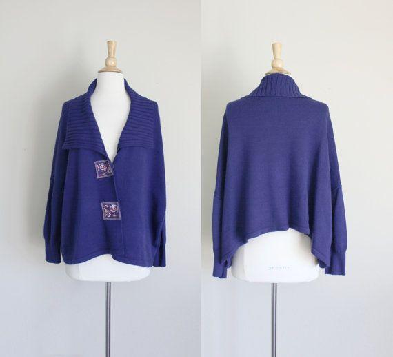 1990s Navy Blue Asymmetrical Knit Cardigan  Drape by missheyday