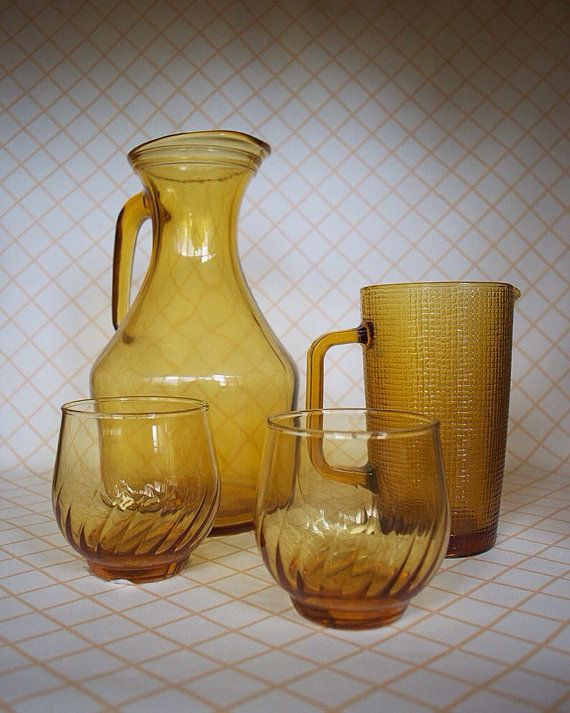 Amber Jugs and glasses set by SomethingKitsch on Etsy