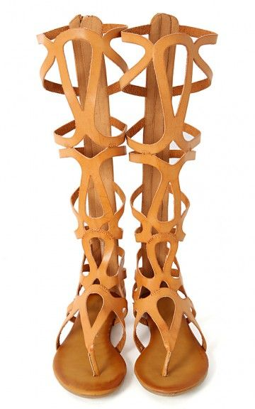 Ongee-04 Cut Out Knee High Gladiator Sandals | MakeMeChic.com