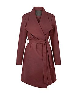 Burgundy Wrap Front Coat  | New Look