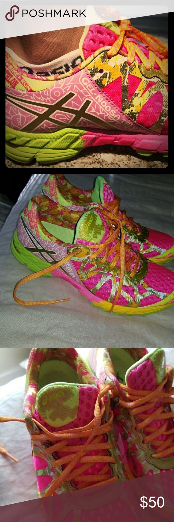 Like new Asics Gel Noosa breast cancer awareness Perfect condition other than the little label where your heel goes is slightly worn off. These have literally been worn twice so I'm not sure why that wore off. Very colorful, fun shoes and for a good cause. Asics Shoes Athletic Shoes