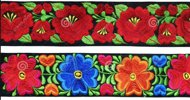 Photo About Traditional Mexican Flowers Embroidery On Black Stripes