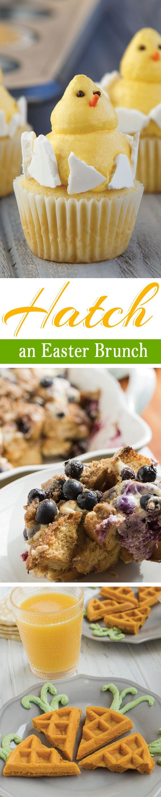Hatch an Easter brunch to remember with these Baby Chick Cupcakes, Carrot-Shaped Waffles and Overnight Lemon Blueberry Muffin Casserole from McCormick Spice.