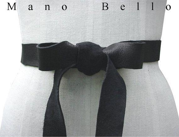 Soft Leather Bow Wedding Dress Sash Leather Ribbon by ManoBello