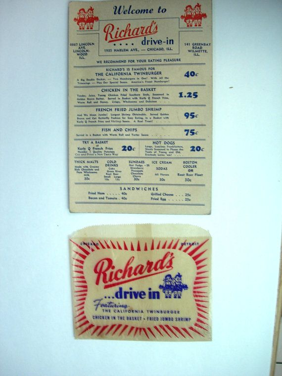 Vintage Richards Drive In Diner Roadside Menu by NeatstuffAntiques, $49.95