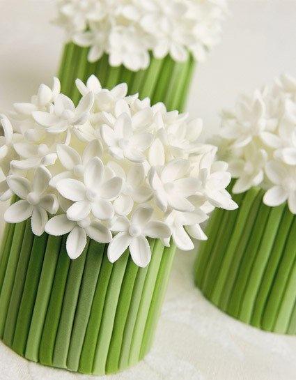 Wedding Mini cakes - white flowers & green steams - beautiful