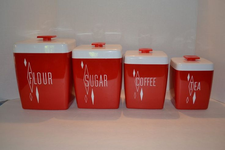 Vintage Retro 1950's Red & White Looks Like Lustro Ware Kitchen Canister Set