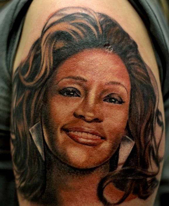 Whitney houston portrait tattoo portraits pinterest for Tattoo parlors houston