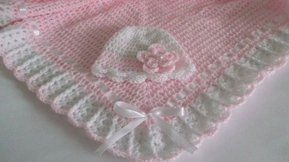 Crochet Baby Blanket / Afghan and Booties Pink White Christening ...