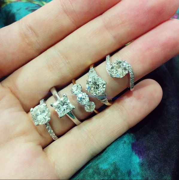 A range of stunning engagement rings, old and new in our store!