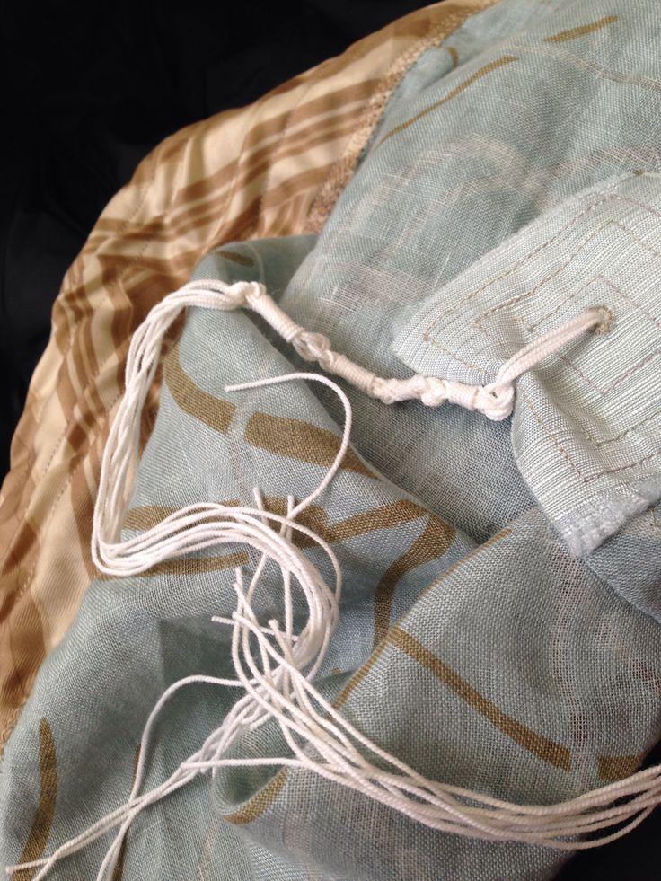 Tallit made from repurposed fabrics.