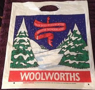 1980s Woolworth's Christmas Carrier Bag