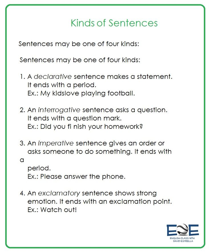 Explains the different types of sentences we can write in English at a pre-intermediate level.