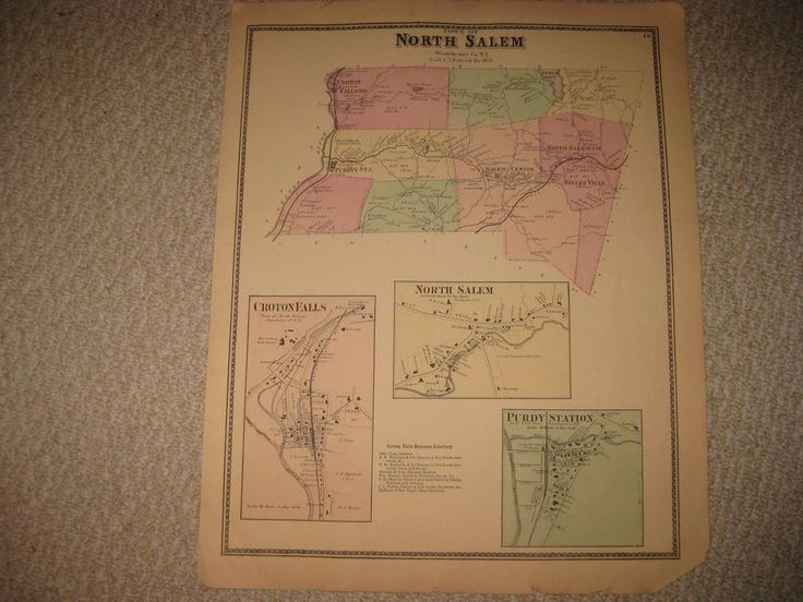 ANTIQUE 1867 NORTH SALEM CROTON FALLS PURDYS WESTCHESTER COUNTY NEW YORK MAP NR