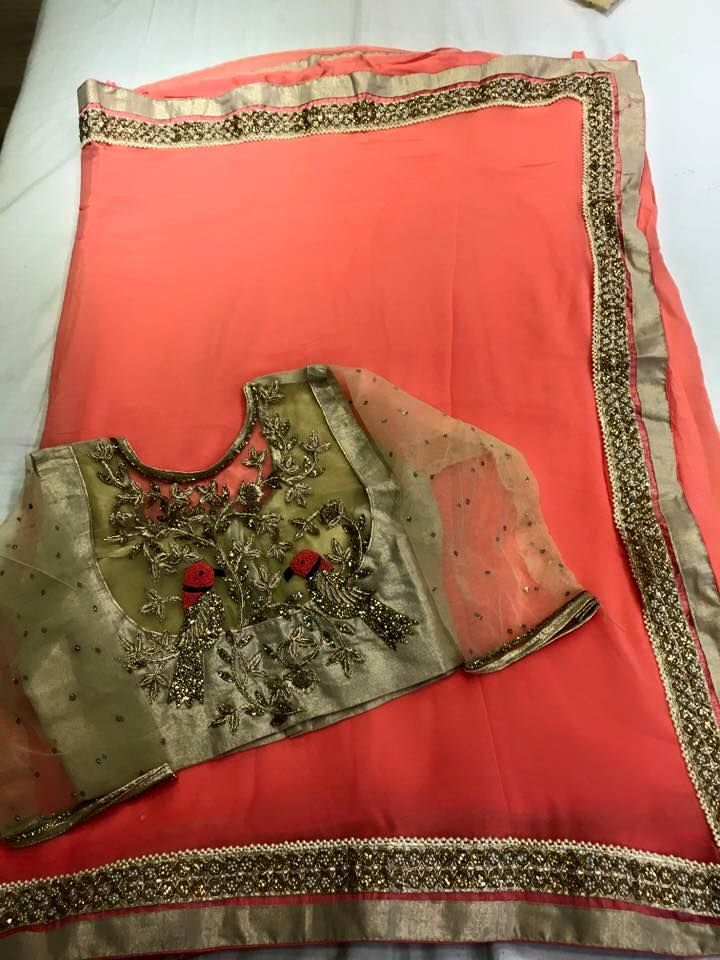 Georgette Sarees Paired With Designer Blouse | Buy Online Sarees | Elegant Fashion Wear