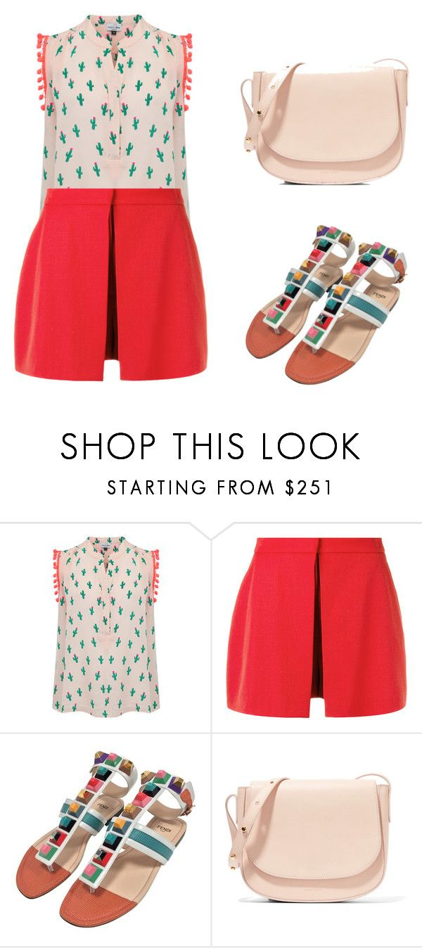 """""""Red Shorts"""" by bojana-petrevski ❤ liked on Polyvore featuring Mercy Delta, Alexander McQueen, Fendi and Mansur Gavriel"""