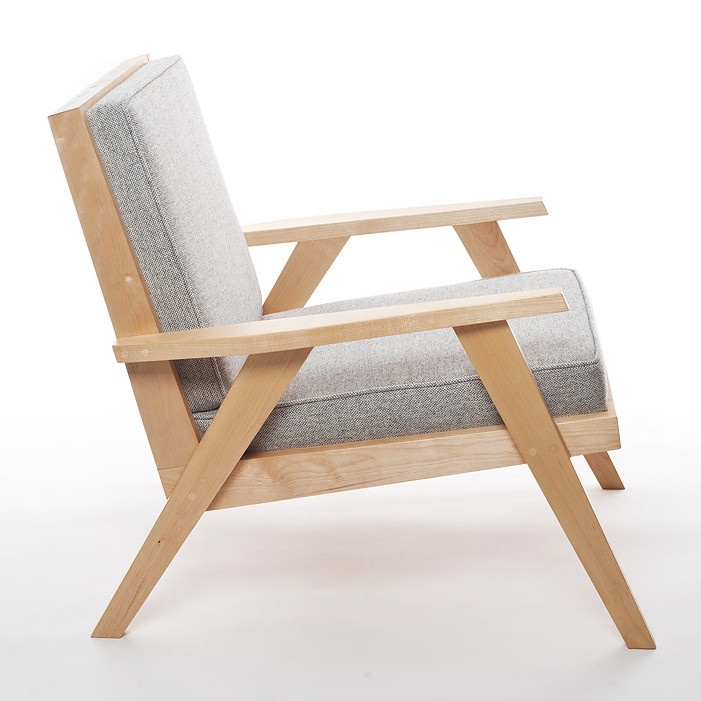 The Station Chair in birch and grey Hallingdal Kvadrat fabric from Denmark. Crafted in Canada. Channels a Danish Modern and Canadian aesthetic.