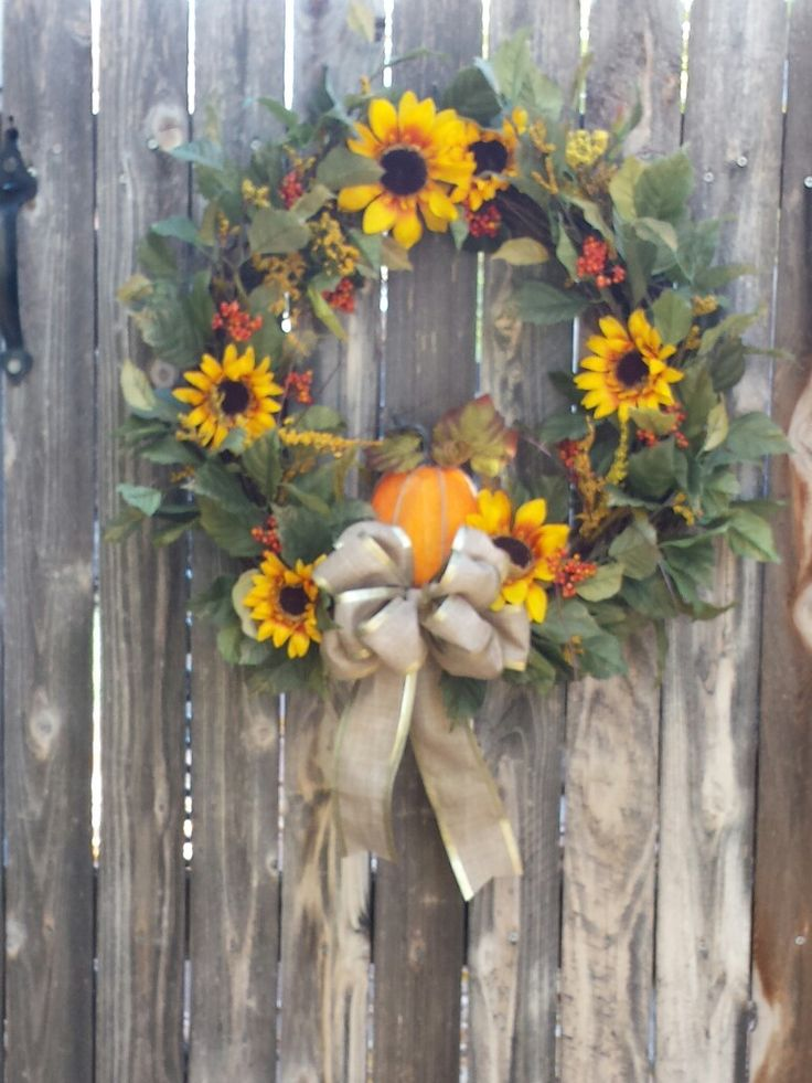 Fall Wreath with Pumpkin and Sunflowers  cathdun68@hotmail.com