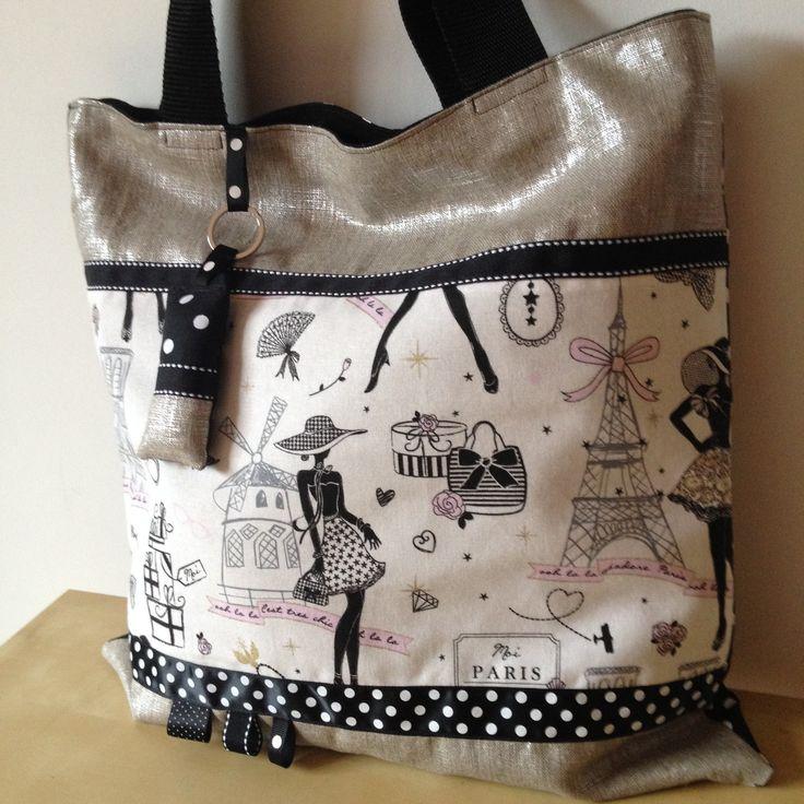 """Tote-bag ou cabas rétro """"la parisienne"""" en lin lamé argenté et tissu noir à pois : Sacs à main par nymeria-creation"""