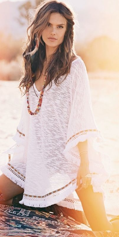 Sexy boho chic swimsuit cover up with gypsy modern hippie necklace. For the BEST Bohemian fashion trends FOLLOW http://www.pinterest.com/happygolicky/the-best-boho-chic-fashion-bohemian-jewelry-gypsy-/