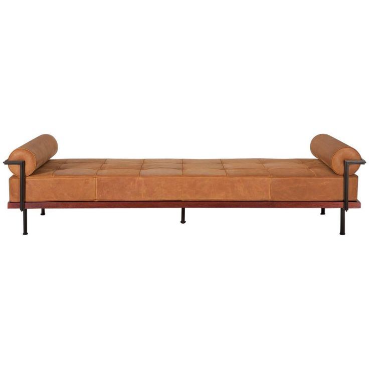 Bespoke Double Day Bed, Reclaimed Teak, Solid Brass, Leather